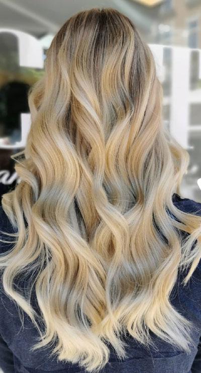 Lange blonde haare strähnen Beste Frisuren